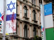 SOLIDARIETA' A ISRAELE PER BANIDERA IMBRATTATA A MILANO